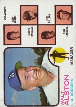 1973 Topps #569 Walt Alston MG/Red Adams CO/Monty Basgall CO/Jim Gilliam CO/Tom Lasorda CO