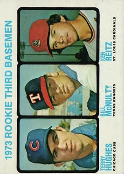 1973 Topps #603 Rookie Third Basemen/Terry Hughes RC/Bill McNulty RC/Ken Reitz RC