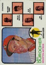 1973 Topps #624 Leo Durocher MG/Preston Gomez CO/Grady Hatton CO/Hub Kittle CO/Jim Owens CO