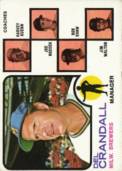 1973 Topps #646 Del Crandall MG/Harvey Kuenn CO/Joe Nossek CO/Bob Shaw CO/Jim Walton CO front image