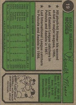 1974 Topps #19 Gerry Moses back image