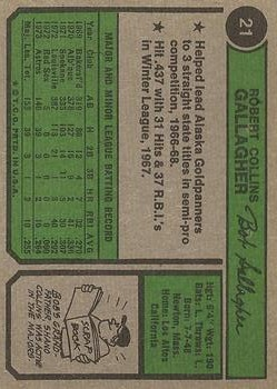 1974 Topps #21 Bob Gallagher RC back image