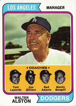 1974 Topps #144 Walter Alston MG/Tom Lasorda CO/Jim Gilliam CO/Red Adams CO/Monty Basgall CO front image