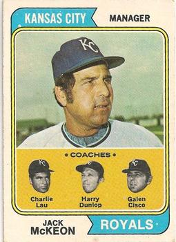 1974 Topps #166 Jack McKeon MG/Charlie Lau CO/Harry Dunlop CO/Galen Cisco CO