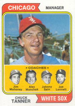 1974 Topps #221 Chuck Tanner MG/Jim Mahoney CO/Alex Monchak CO/Johnny Sain CO/Joe Lonnett CO