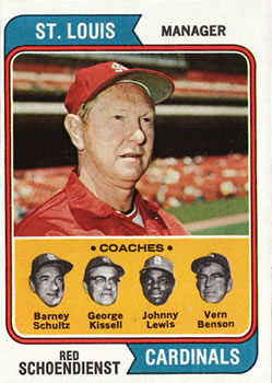 1974 Topps #236 Red Schoendienst MG/Barney Schultz CO/George Kissell CO/Johnny Lewis CO/Vern Benson CO front image