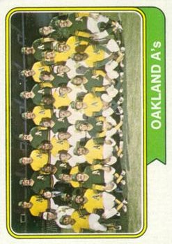 1974 Topps #246 Oakland Athletics TC