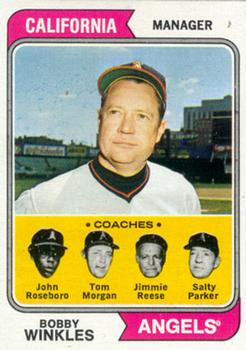 1974 Topps #276 Bobby Winkles MG/John Roseboro CO/Tom Morgan CO/Jimmie Reese CO/Salty Parker CO