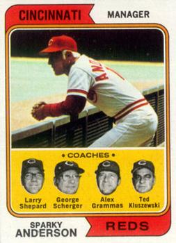 1974 Topps #326 Sparky Anderson MG/Larry Shepard CO/George Scherger CO/Alex Grammas CO/Ted Kluszewski CO