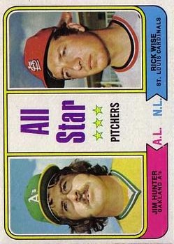 1974 Topps #339 Jim Hunter/Rick Wise AS
