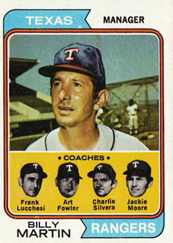 1974 Topps #379 Billy Martin MG/Frank Lucchesi CO/Art Fowler CO/Charlie Silvera CO/Jackie Moore CO