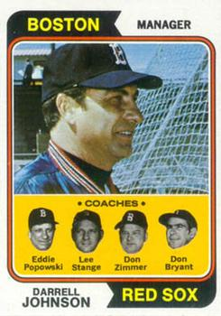 1974 Topps #403 Darrell Johnson MG/Eddie Popowski CO/Lee Stange CO/Don Zimmer CO/Don Bryant CO