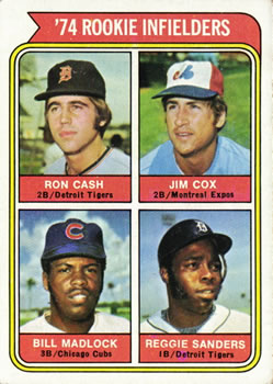1974 Topps #600 Rookie Infielders/Ron Cash RC/Jim Cox RC/Bill Madlock RC/Reggie Sanders RC