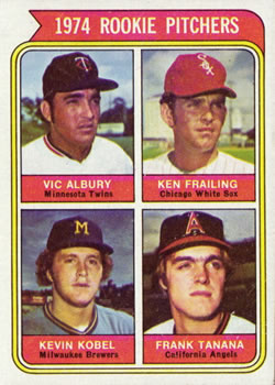 1974 Topps #605 Rookie Pitchers/Vic Albury/Ken Frailing RC/Kevin Kobel RC/Frank Tanana RC