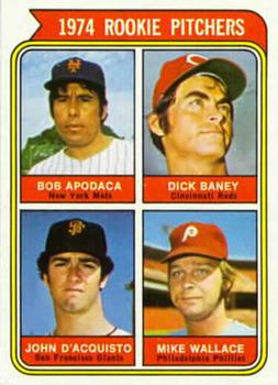 1974 Topps #608B Rookie Pitchers/Bob Apodaca COR RC/Dick Baney/John D'Acquisto RC/Mike Wallace RC