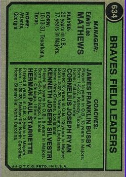1974 Topps #634 Eddie Mathews MG/Herm Starrette CO/Connie Ryan CO/Jim Busby CO/Ken Silvestri CO back image