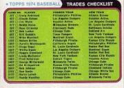 1974 Topps Traded #NNO Traded Checklist