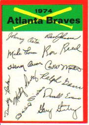 1974 Topps Team Checklists #1 Atlanta Braves