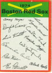 1974 Topps Team Checklists #3 Boston Red Sox