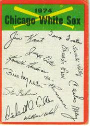 1974 Topps Team Checklists #6 Chicago White Sox