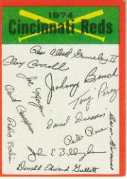 1974 Topps Team Checklists #7 Cincinnati Reds
