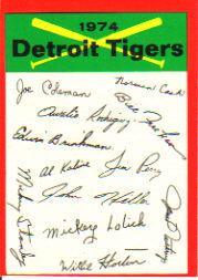 1974 Topps Team Checklists #9 Detroit Tigers