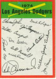 1974 Topps Team Checklists #12 Los Angeles Dodgers