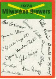 1974 Topps Team Checklists #13 Milwaukee Brewers