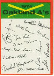 1974 Topps Team Checklists #18 Oakland A's