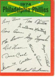 1974 Topps Team Checklists #19 Philadelphia Phillies
