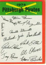 1974 Topps Team Checklists #20 Pittsburgh Pirates