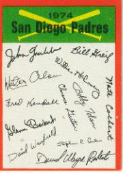 1974 Topps Team Checklists #21 San Diego Padres