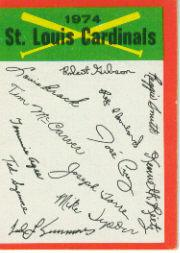 1974 Topps Team Checklists #23 St. Louis Cardinals
