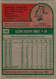 1975 Topps #43 Cleon Jones back image