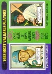 1975 Topps #190 Bobby Shantz/Hank Sauer MVP