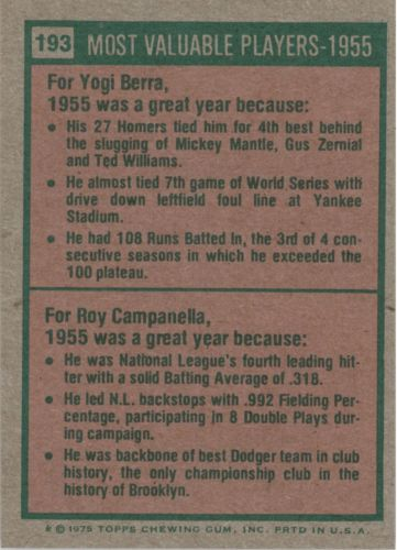 1975 Topps #193 Yogi Berra/Roy Campanella MVP/Campanella card never issued/he is pictured with LA cap back image