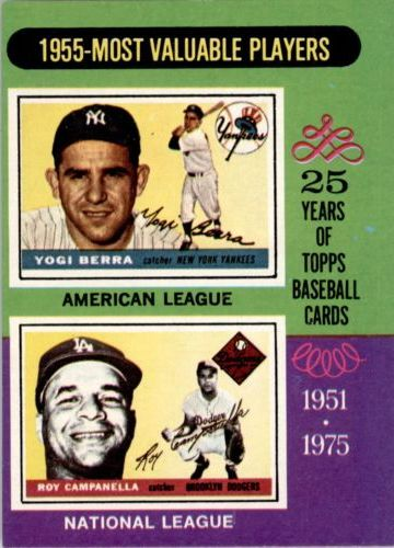 1975 Topps #193 Yogi Berra/Roy Campanella MVP/Campanella card never issued/he is pictured with LA cap front image