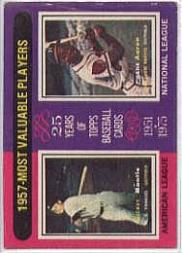 1975 Topps #195 Mickey Mantle/Hank Aaron MVP
