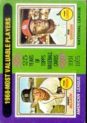 1975 Topps #206 Denny McLain UER/Bob Gibson MVP/On the back McLain is spelled McClain
