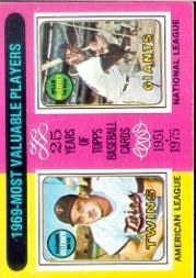 1975 Topps #207 Harmon Killebrew/Willie McCovey MVP