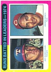 1975 Topps #308 RBI Leaders/Jeff Burroughs/Johnny Bench
