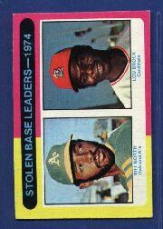 1975 Topps #309 Stolen Base Leaders/Bill North/Lou Brock