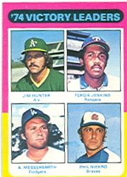 1975 Topps #310 Victory Leaders/Jim Hunter/Fergie Jenkins/Andy Messersmith/Phil Niekro