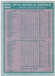 1975 Topps #466 World Series Summary/A's Do it Again