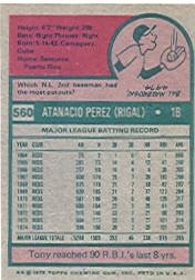 1975 Topps #560 Tony Perez back image