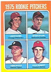 1975 Topps #614 Rookie Pitchers/Jack Kucek RC/Dyar Miller RC/Vern Ruhle RC/Paul Siebert RC