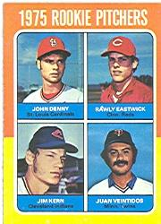 1975 Topps #621 Rookie Pitchers/John Denny RC/Rawly Eastwick RC/Jim Kern RC/Juan Veintidos RC