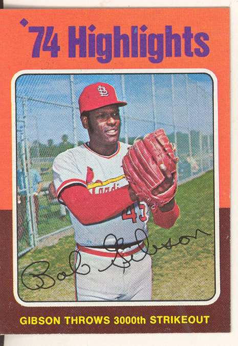 1975 Topps Mini #3 Bob Gibson HL/3000th Strikeout