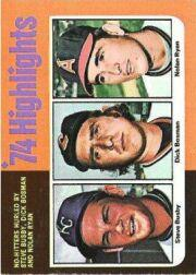 1975 Topps Mini #7 Steve Busby HL/Dick Bosman/Nolan Ryan