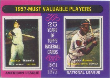 1975 Topps Mini #195 Mickey Mantle/Hank Aaron MVP